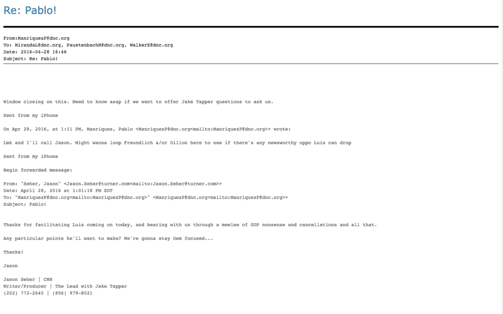 The discussion among DNC staffers about what questions to send for CNN to ask them. Image courtesy of Wikileaks.