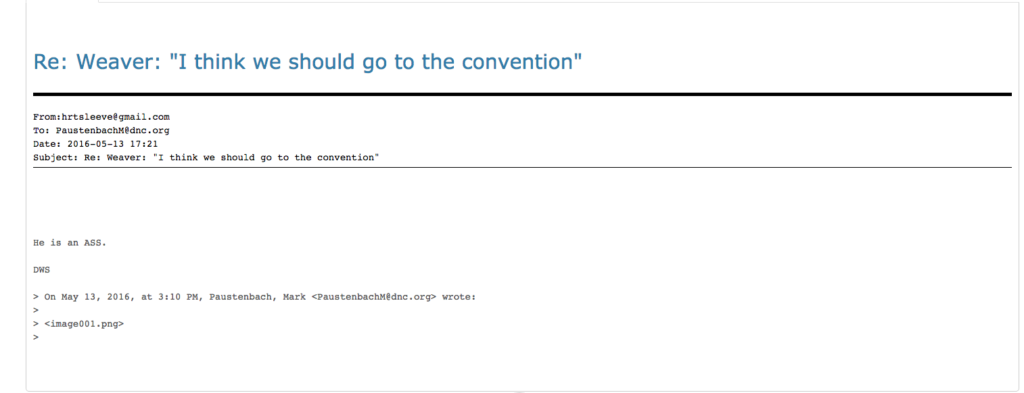 """Debbie Wasserman Schultz refers to Bernie Sanders' campaign manager as an """"a**"""" in this email. Image courtesy of Wikileaks."""