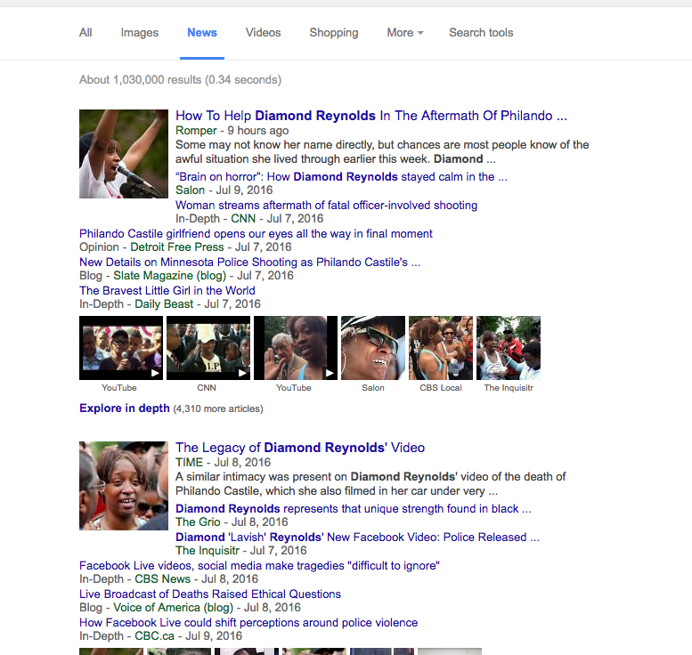 Google News searches show nothing about Diamond Reynolds smoking pot video, which means the main news outlets are ignoring this story. Image courtesy of Google.