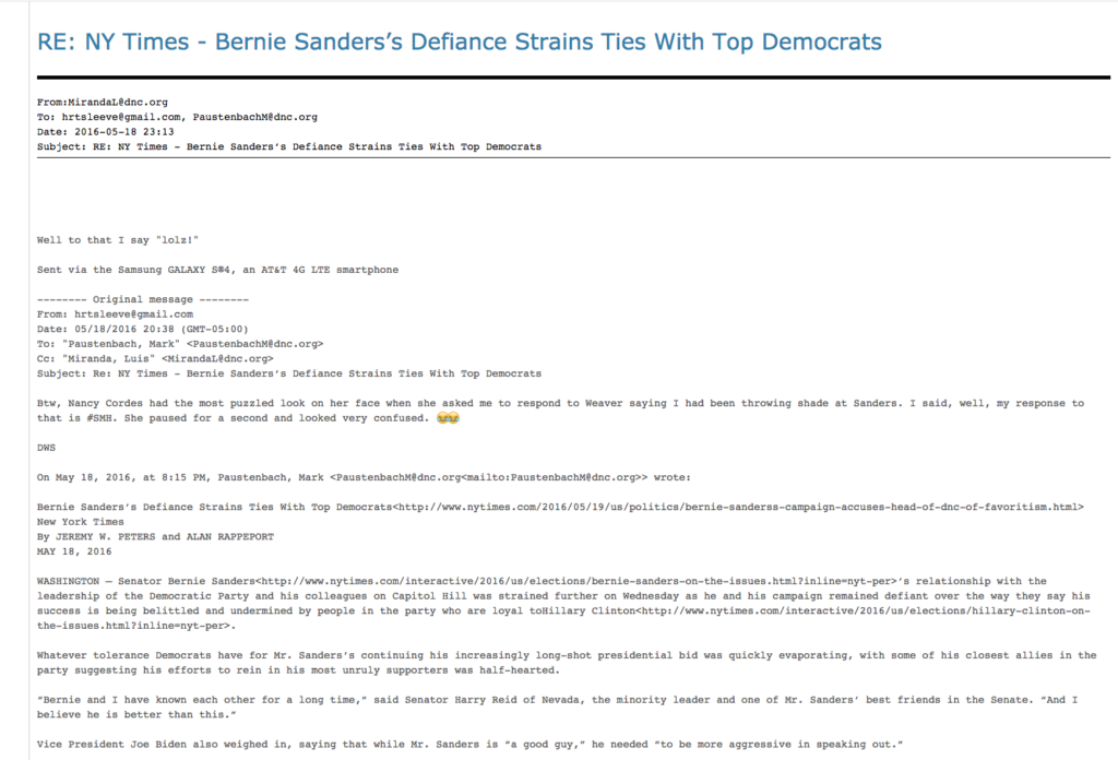 DNC staffers mock Sanders in a thread with a New York Times article. Image courtesy of Wikileaks.