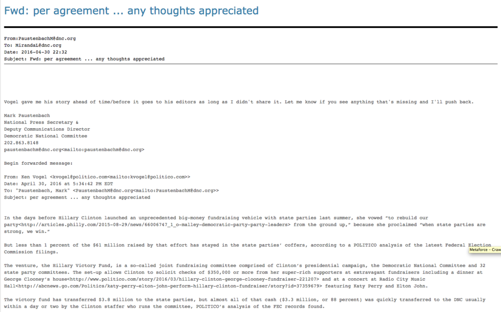 A Politico reporter sent his article to the DNC before his own editor. Image courtesy of Wikileaks.