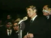 Robert F. Kennedy in his speech promoting unity in April 1968, following the assassination of Dr. Martin Luther King, Jr. Fair use image.