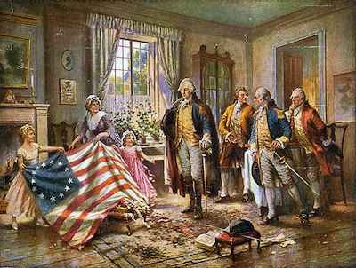 The artistic rendition of Betsy Ross presenting the flag to General George Washington. Public domain image by Edward Percy Morgan.