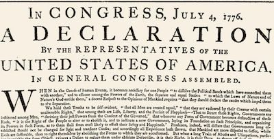 First printed copy of the United States Declaration of Independence. Public domain image.