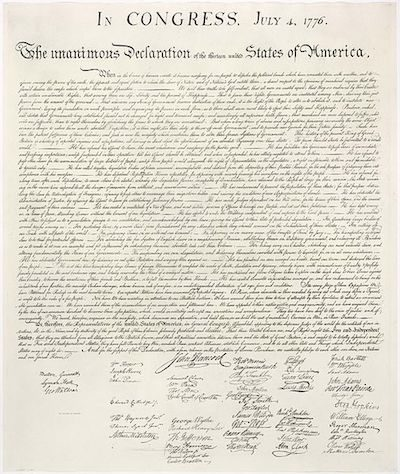 The United States Declaration of Independence. Public Domain Image.