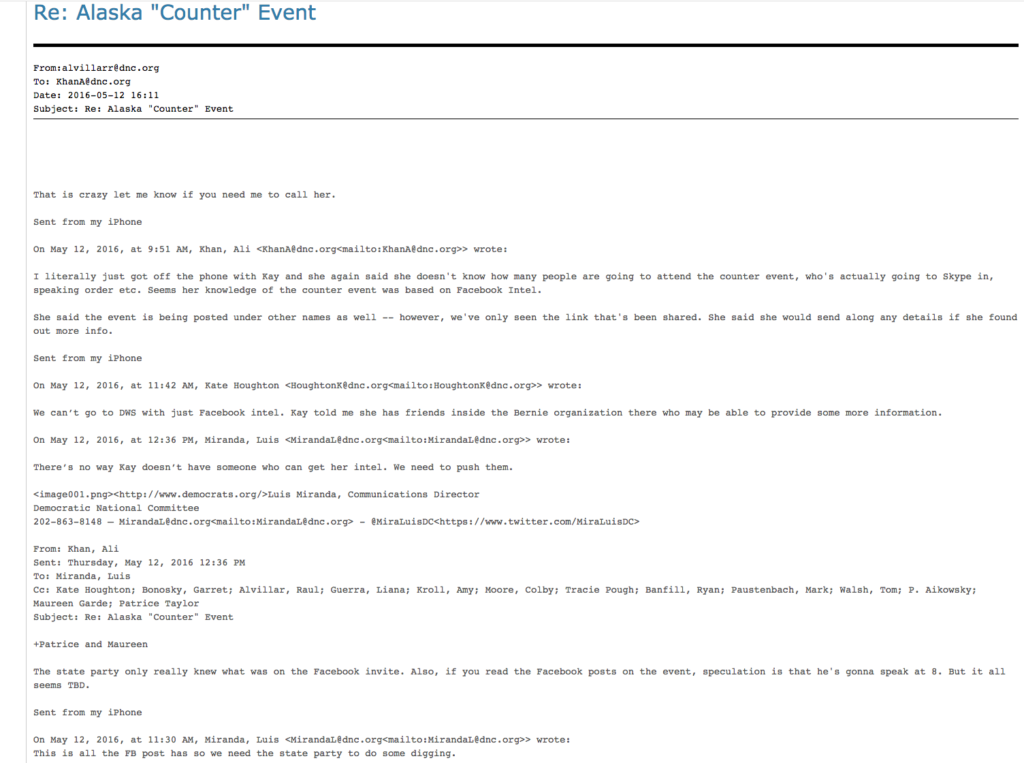 This email indicates that the Alaska Democratic Party had a mole operating with Bernie Sanders' organization on behalf of the DNC. Image courtesy of Wikileaks.