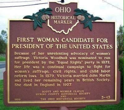 The marker in Ohio commemorating Victoria Woodhull. Image courtesy of Facebook.