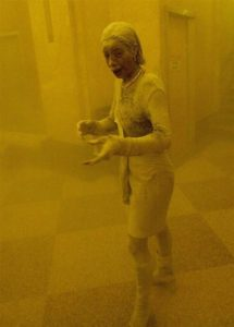 "Marcy Borders, the ""Dust Lady,"" on Sept. 11, 2001. Fair use image."