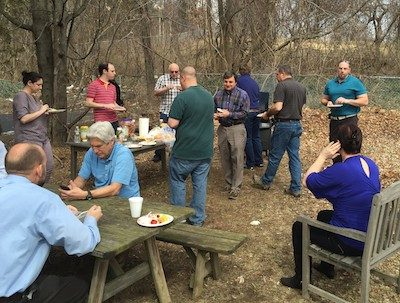 Employees enjoy a Friday afternoon barbecue event. Photo provided.