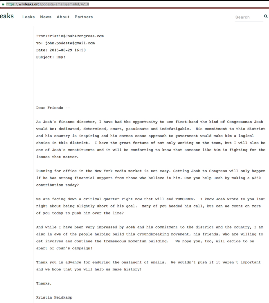 A 2015 fundraising email on behalf of Josh Gottheimer, suggesting he was behind on his fundraising. John Podesta was one of the recipients of this fund drive email. Image courtesy of Wikileaks.