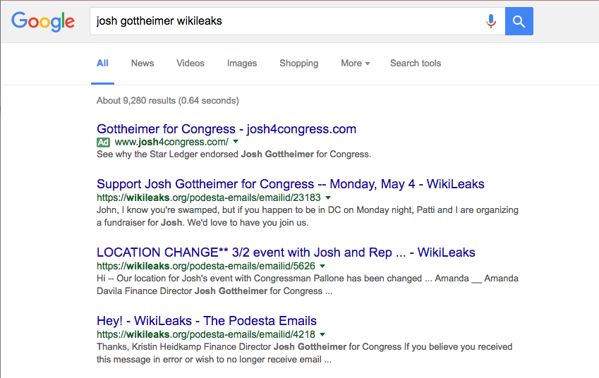 Wikileaks emails showing up on Google attached to Josh Gottheimer's name.